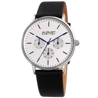 August Steiner Men's Date Multifunction Black Leather Strap Watch