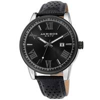 Akribos XXIV Men's Classic Perforated Black Leather Strap Watch