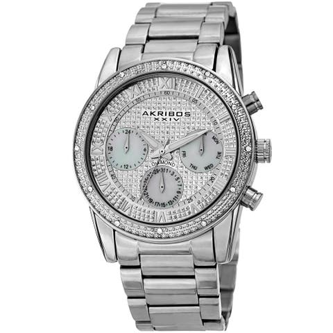 Akribos XXIV Men's Diamond Date Beaded Silver-tone Bracelet Watch