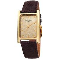 Akribos XXIV Men's Sleek Rectangular Brown Leather Strap Watch