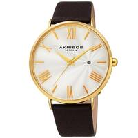 Akribos XXIV Men's Classic Date Brown Leather Strap Watch
