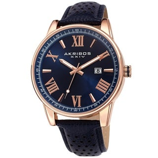 Akribos XXIV Men's Classic Perforated Blue Leather Strap Watch