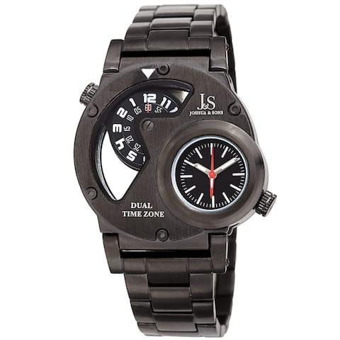 Joshua & Sons Men's Dual Time Transparent Stainless Steel Black Bracelet Watch