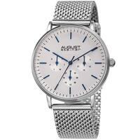 August Steiner Men's Date Multifunction Silver-tone Stainless Steel Mesh Strap Watch
