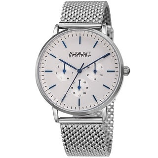 August Steiner Men's Date Multifunction Silver-tone Stainless Steel Mesh Strap Watch