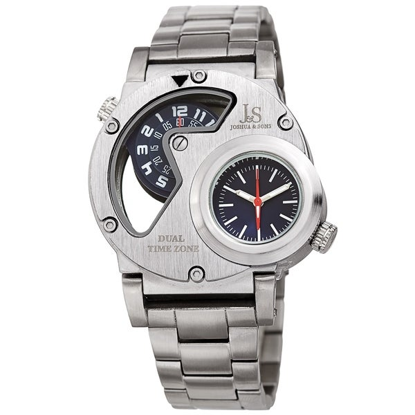 Joshua & Sons Men's Dual Time Transparent Stainless Steel Silver-tone Bracelet Watch