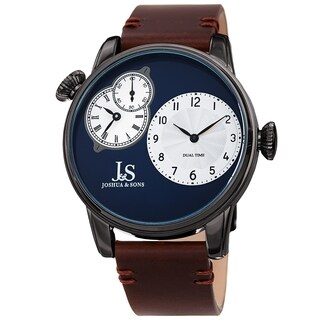 Joshua & Sons Men's Dual Time Brown Leather Strap Watch