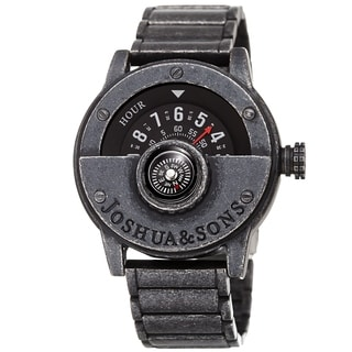 Joshua & Sons Men's Rotating Wheel Compass Antique Style Bracelet Watch