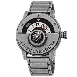 Joshua & Sons Men's Rotating Wheel Compass Antique Style Silver-tone Bracelet Watch