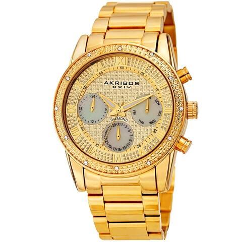 Akribos XXIV Men's Diamond Date Beaded Gold-tone Bracelet Watch