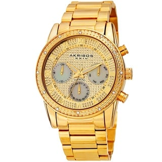 Akribos XXIV Men's Diamond Date Beaded Gold-tone Bracelet Watch