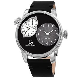 Joshua & Sons Men's Dual Time Black Leather Strap Watch