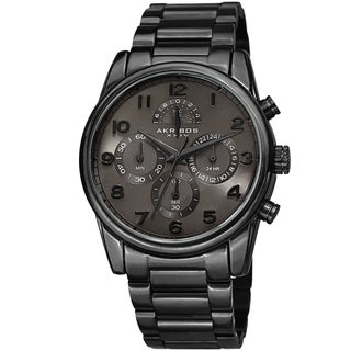 Link to Akribos XXIV Men's Rugged Chronograph Black Stainless Steel Bracelet Watch Similar Items in Men's Watches