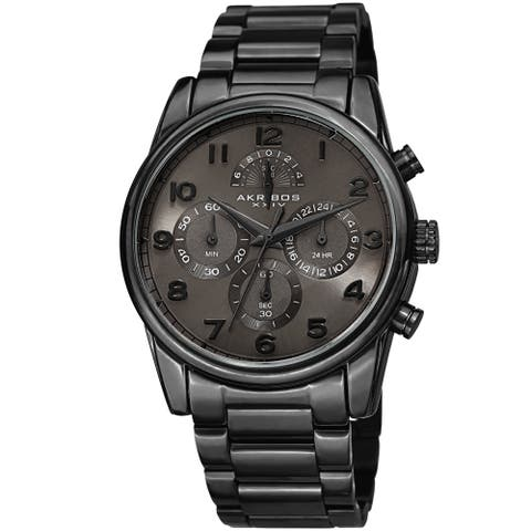 b02c2143cb2 Akribos XXIV Men's Rugged Chronograph Black Stainless Steel Bracelet Watch