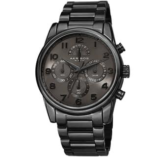 Akribos XXIV Men's Rugged Chronograph Black Stainless Steel Bracelet Watch