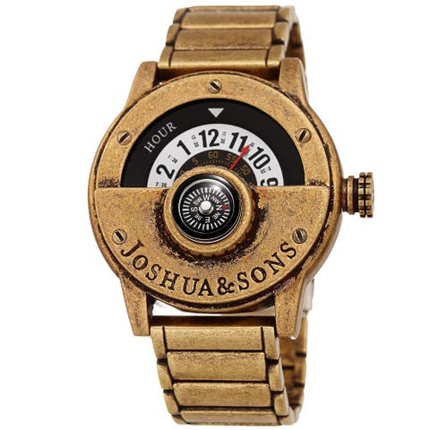 Joshua & Sons Men's Rotating Wheel Compass Antique Style Gold-tone Bracelet Watch