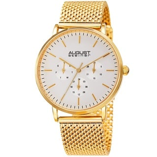 August Steiner Men's Date Multifunction Gold-tone Stainless Steel Mesh Strap Watch