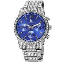Joshua & Sons Men's Calendar Date Radiant Crystal Silver-tone Bracelet Watch