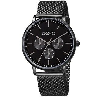 August Steiner Men's Date Multifunction Black Stainless Steel Mesh Strap Watch