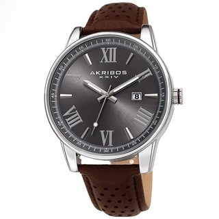 Akribos XXIV Men's Classic Perforated Brown Leather Strap Watch