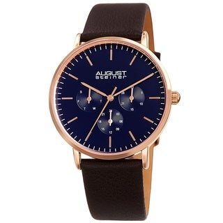 Link to August Steiner Men's Date Multifunction Brown Leather Strap Watch Similar Items in Men's Watches