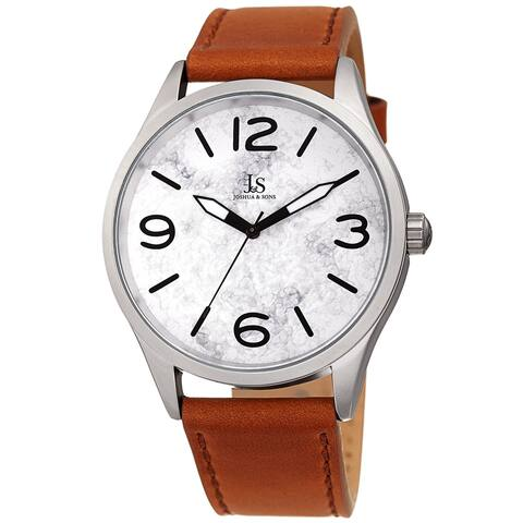 Joshua & Sons Men's Marble Designed Tan Leather Strap Watch