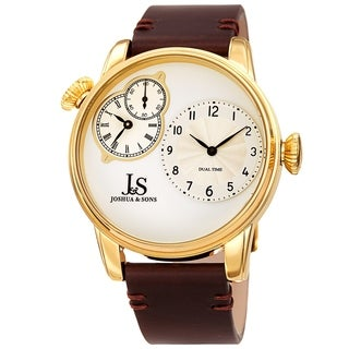 Joshua & Sons Men's Gold-tone Dual Time Leather Strap Watch