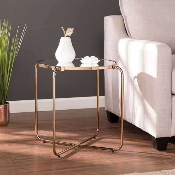 Champagne Mirrored Coffee Table: Shop Silver Orchid Grant Champagne Mirrored Accent Table