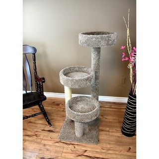 New Cat Condos Carpeted Solid Wood Cat Tree Tower