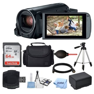 Canon VIXIA HF-R800 Camcorder (Black) + 64GB Memory Card +Case + Extra Battery BP-727+ Card Reader + Deluxe Accessory Bundle