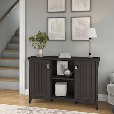 "The Gray Barn Lowbridge 2-door Black Storage Cabinet - 46.22""L x 12.76""W x 29.96""H"