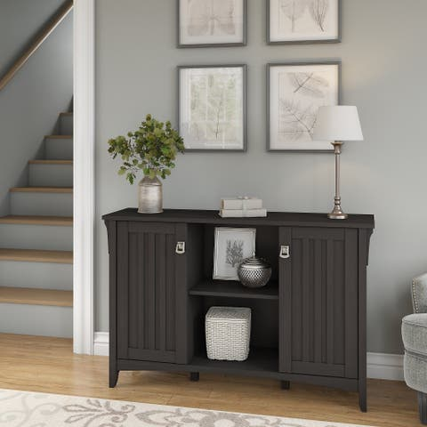 "The Gray Barn Lowbridge Accent Storage Cabinet with Doors in Black - 46.22""L x 12.76""W x 29.96""H"