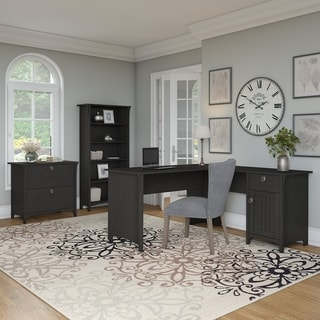 The Gray Barn Lowbridge L-shaped Desk with Lateral File Cabinet and Bookcase in Vintage Black