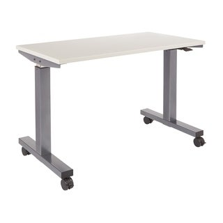 4 ft. Wide Pneumatic Height Adjustable with Titanium Steel Frame and Grey Laminate Top