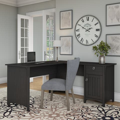 The Gray Barn Lowbridge L-shaped Desk with Storage in Vintage Black