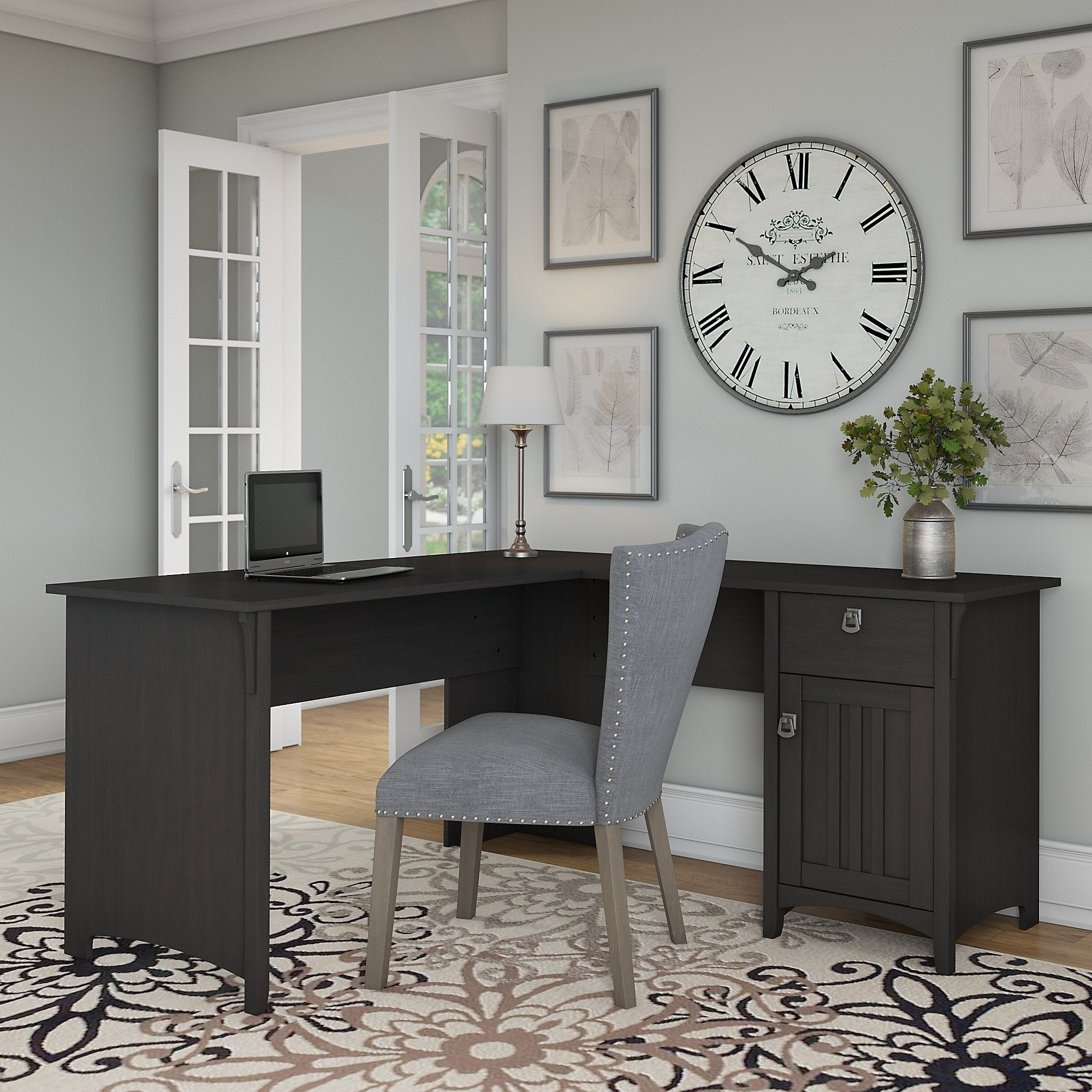 The Gray Barn Lowbridge L Shaped Desk With Storage In Vintage Black