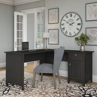 Bush Furniture Salinas L Shaped Desk with Storage in Vintage Black