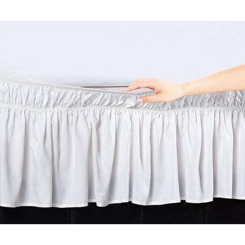 Elegant Comfort Luxury Wrinkle Resistant -Wrap Around Style- Elastic Bed Wrap Ruffled Bed Skirt 16inch Drop