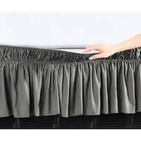 Elegant Comfort Luxury Wrinkle Resistant -Wrap Around Style- Elastic Bed Wrap Ruffled Bed Skirt 16inch Drop