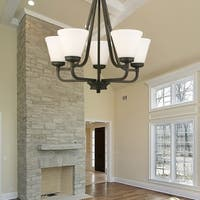 Eglo Mayview Transitional Bronze-finished Metal/Glass 5-light Chandelier