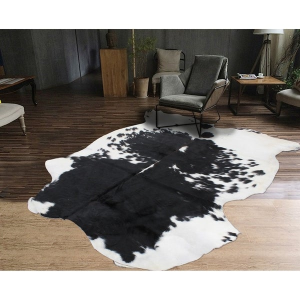 Shop BLACK WHITE Real Natural Cowhide Rug Area Rugs