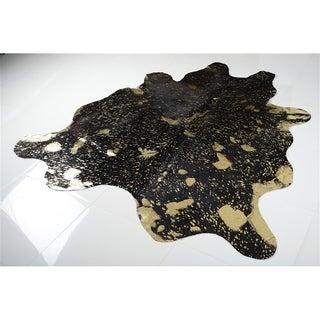 GOLD METALLIC ON DARK BROWN Real Natural Cowhide Rug Area Rugs