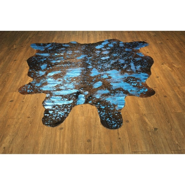 Shop BLUE METALLIC Real Natural Cowhide Rug Area Rugs