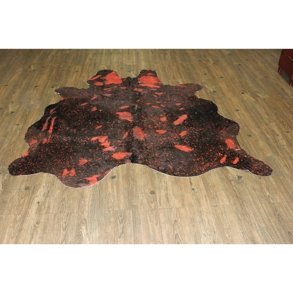 Shop RED METALLIC Real Natural Cowhide Rug Area Rugs
