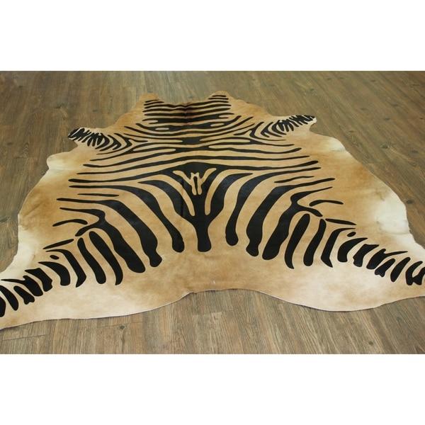Shop ZEBRA ON CARAMEL Real Natural Cowhide Rug Area Rugs