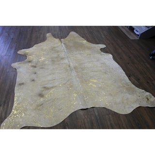 GOLD METALLIC ON CARAMEL Real Natural Cowhide Rug Area Rugs