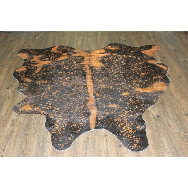 Shop Orange Metallic Real Natural Cowhide Rug Area Rugs