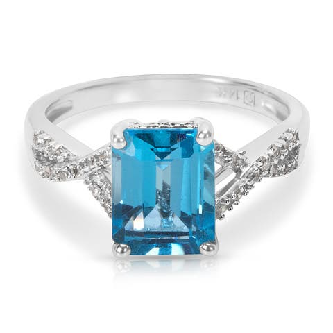 Emerald Cut Blue Topaz Fashion Ring in 14KT White Gold (0.07 CTW)