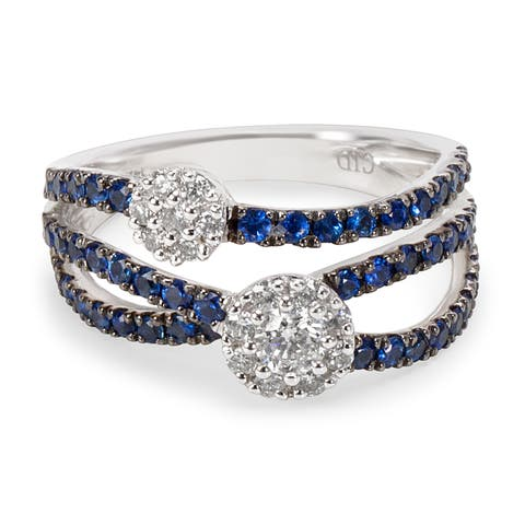 Diamond and Sapphire Flower Cluster Ring in 14KT WG