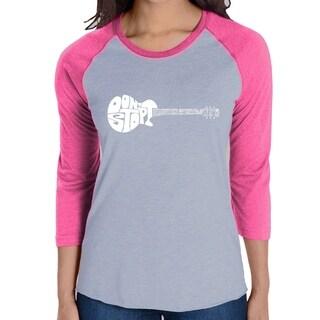 Link to LA Pop Art Women's Raglan Baseball Word Art T-shirt - Don't Stop Believin' Similar Items in Tops